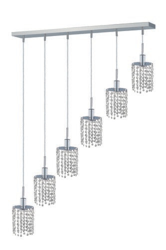 1286 Mini Collection Hanging Fixture Oblong Canopy D40inx5in H12in-48in Round Pendant Lt:6 Chrome Finish (Swarovski Strass/Elements Crystals)