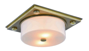 "Travis Collection Flush Mount L:12.5"" W:12.5"" H:5"" Lt:2 Burnished Brass Finish"