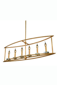 "Bjorn Collection Pendant Lamp L:44"" W:10"" H:65"" Lt:6 Golden Iron Finish Royal Cut Clear"