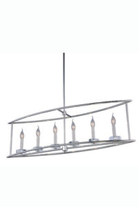 "Bjorn Collection Pendant Lamp L:44"" W:10"" H:65"" Lt:6 Polished Nickel Finish Royal Cut Clear"
