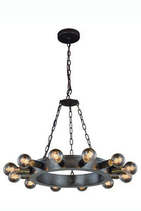 "Winston Collection Pendant Lamp D:25"" H:18"" Lt:12 Aged Iron Finish"