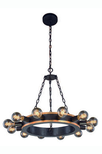 "Winston Collection Pendant Lamp D:25"" H:18"" Lt:12 Golden Iron & Vintage Bronze Finish"