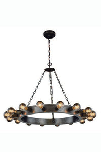 "Winston Collection Pendant Lamp D:35"" H:22"" Lt:16 Aged Iron Finish"