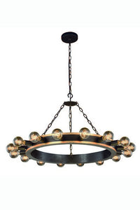 "Winston Collection Pendant Lamp D:35"" H:22"" Lt:16 Golden Iron & Vintage Bronze Finish"