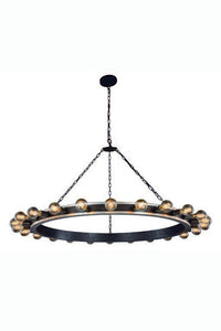 "Winston Collection Pendant Lamp D:55"" H:31"" Lt:24 Silver Leaf & Vintage Bronze Finish"