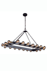 "Winston Collection Pendant Lamp L:50"" W:21"" H:24"" Lt:20 Aged Iron Finish"