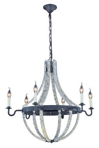 "Woodland Collection Pendant Lamp D:31"" H:31"" Lt:6 Ivory wash & Steel grey Finish"
