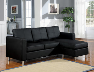 Acme Kemen Sectional Sofa (Reversible Chaise), Black PU