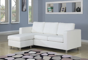 Acme Kemen Sectional Sofa (Reversible Chaise), White PU