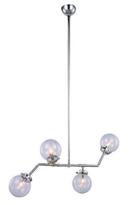 "Leda Collection Pendant Lamp L:40"" W:21"" H:53"" Lt:4 Polished Nickel Finish"