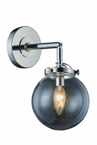 "Leda Collection Wall Sconce W:6"" H:13"" E:9"" Lt:1 Polished Nickel Finish"