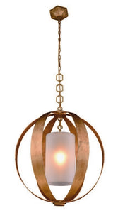 "Serenity Collection Pendant Lamp D:30"" H:33"" Lt:1 Golden Iron Finish"