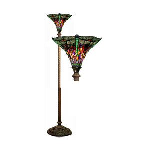 Tiffany-style Dragonfly Red & Purple Torchiere Lamp