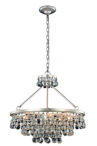 "Bettina Collection Pendant Lamp D:26"" H:24"" Lt:8 Silver Leaf Finish Royal Cut Clear"