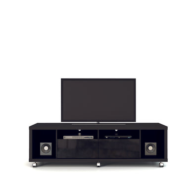 Manhattan Comfort Cabrini TV Stand 1.8 in Black Gloss and Black Matte