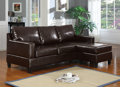 Acme Vogue Sectional Sofa (Reversible Chaise), Espresso Bonded Leather