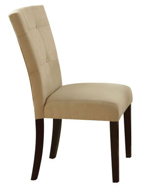 Acme Baldwin Side Chair (Set-2), Beige Microfiber & Walnut