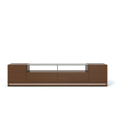 Manhattan Comfort Vanderbilt TV Stand with LED Lights in Nut Brown