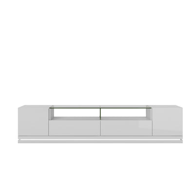 Manhattan Comfort Vanderbilt TV Stand with LED Lights in White Gloss