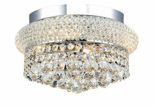 1800 Primo Collection Flush Mount D12in H6in Lt:4 Chrome Finish (Royal Cut Crystals)