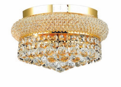 1800 Primo Collection Flush Mount D12in H6in Lt:4 Gold Finish (Royal Cut Crystals)
