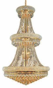 1800 Primo Collection Large Hanging Fixture D30in H50in Lt:32 Gold Finish (Royal Cut Crystals)