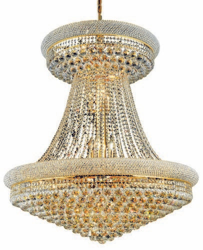 1800 Primo Collection Large Hanging Fixture D36in H45in Lt:28 Gold Finish (Elegant Cut Crystals)