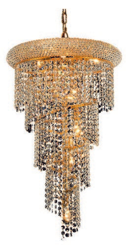 1801 Spiral Collection Hanging Fixture No Neck D16in H26in Lt:8 Gold Finish (Swarovski Spectra Crystals)