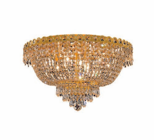1900 Century Collection Flush Mount D20in H12in Lt:9 Gold Finish (Royal Cut Crystal)