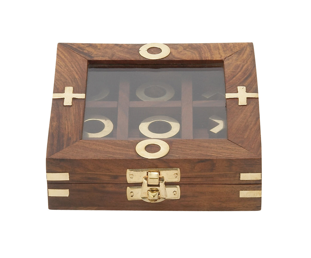 Smartly Styled Wood Glass Game Box
