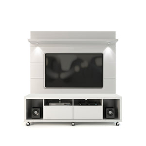 Manhattan Comfort Cabrini TV Stand and Floating Wall TV Panel with LED Lights 1.8 in  White Gloss