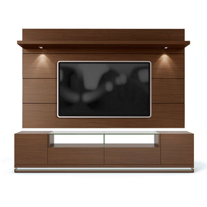 Manhattan Comfort Vanderbilt TV Stand and Cabrini 2.2 Floating Wall TV Panel with LED Lights in Nut Brown