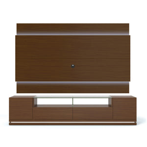 Manhattan Comfort Vanderbilt TV Stand and Lincoln 2.2 Floating Wall TV Panel with LED Lights in Nut Brown
