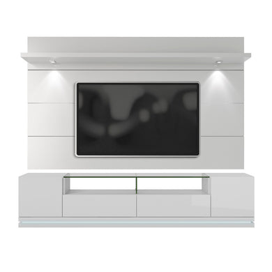 Manhattan Comfort Vanderbilt TV Stand and Cabrini 2.2 Floating Wall TV Panel with LED Lights in White Gloss