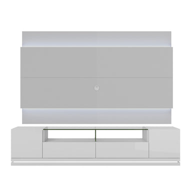 Manhattan Comfort Vanderbilt TV Stand and Lincoln 2.2 Floating Wall TV Panel with LED Lights in White Gloss