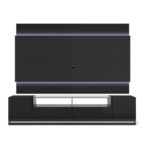 Manhattan Comfort Vanderbilt TV Stand and Lincoln 2.2 Floating Wall TV Panel with LED Lights in Black Gloss and Black Matte