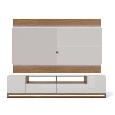 Manhattan Comfort Vanderbilt TV Stand and Lincoln 2.2 Floating Wall TV Panel with LED Lights in Off White