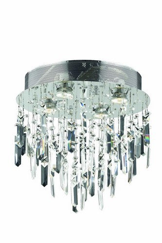 2006 Galaxy Collection Flush Mount Prism Drops H14in D14in Lt:4 Chrome Finish (Swarovski Elements Crystals)