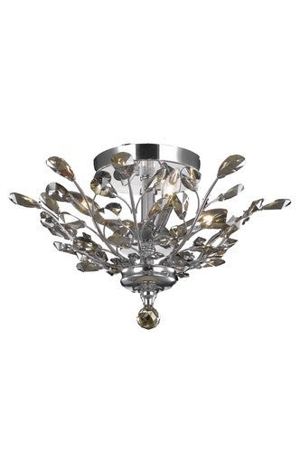2011 Orchid Collection Flush Mount D20in H10in Lt:4 Chrome Finish (Golden Teak Royal Cut Crystals)