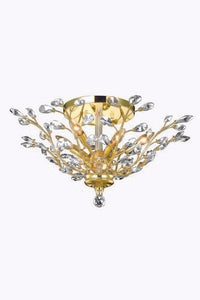 2011 Orchid Collection Flush Mount D27in H12in Lt:6 Gold Finish (Swarvoski Spectra Crystals)