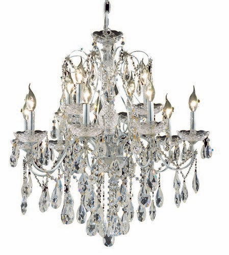 2016 St. Francis Collection Hanging Fixture D28in H28in Lt:8+4 Chrome Finish (Swarovski Strass/Elements Crystals)