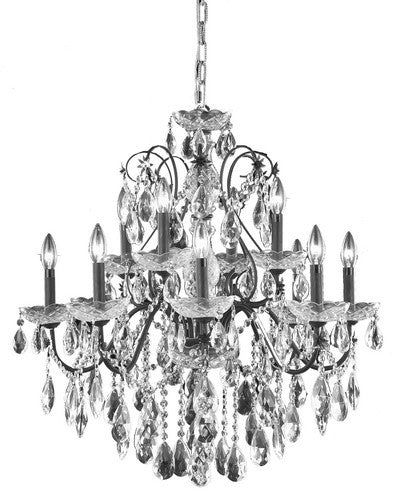 2016 St. Francis Collection Hanging Fixture D28in H28in Lt:8+4 Dark Bronze Finish (Royal Cut Crystals)