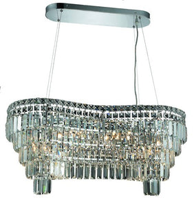 2019 Maxime Collection Hanging Fixture L32in W13in H13in Lt:10 Chrome Finish (Elegant Cut Crystal)