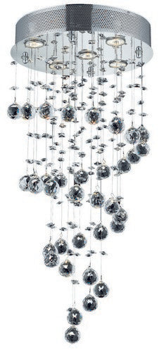2024 Galaxy Collection Hanging Fixture D16in H32in Lt:5 Chrome Finish (Swarovski Strass/Elements Crystals)