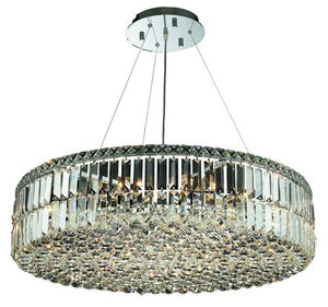 2030 Maxime Collection Hanging Fixture D32in H7.5in Lt:18 Chrome Finish (Elegant Cut Crystals)