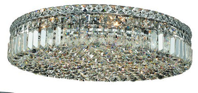 2030 Maxime Collection Flush Mount D24in H5.5in Lt:9 Chrome Finish (Royal Cut Crystals)