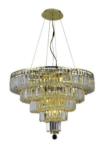 2036 Maxime Collection Hanging Fixture D26in H20in Lt:14 Gold Finish (Royal Cut Crystals)
