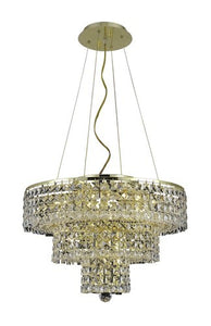 2037 Maxime Collection Hanging Fixture D20in H16in Lt:9 Gold Finish (Swarovski Strass/Elements Crystals)