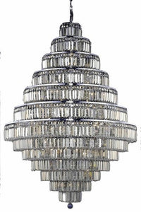 2038 Maxime Collection Large Hanging Fixture D42in H60in Lt:38 Chrome Finish (Royal Cut Golden Teak Crystals)