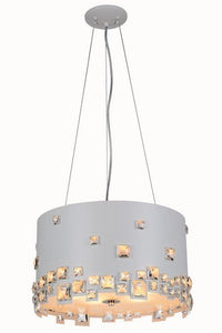 "2058 Candice Collection Pendant lamp D:16"" H:10"" Lt:5 White Finish (Royal Cut Crystals)"